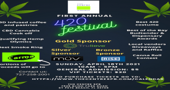 Flyer with a black background promoting a 420 Festival sponsored by Trulieve. Text on the flyer in green and white promote events to be held at the festival and time date location and pricing.