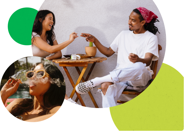 Man and woman sitting outside at a table. The casual-looking man passing a joint to the smiling woman.  Second image bubble Woman wearing sunglasses, smoking a joint.