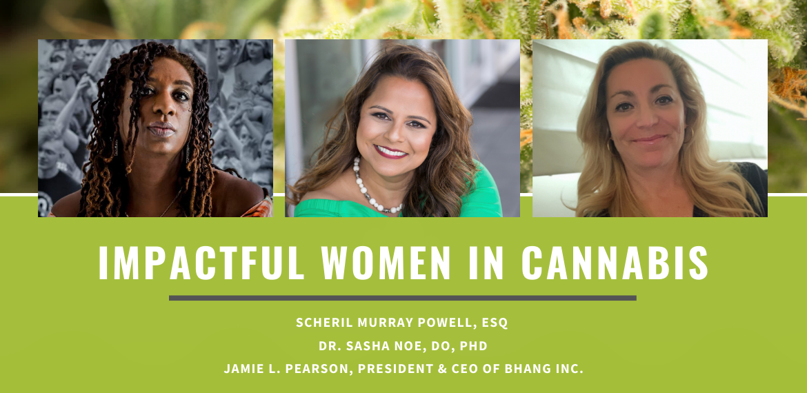 Banner image with a green background featuring the pictures of three impactful women in the cannabis industry, Scheril Powell, Sasha Noe, and Jamie Pearson.