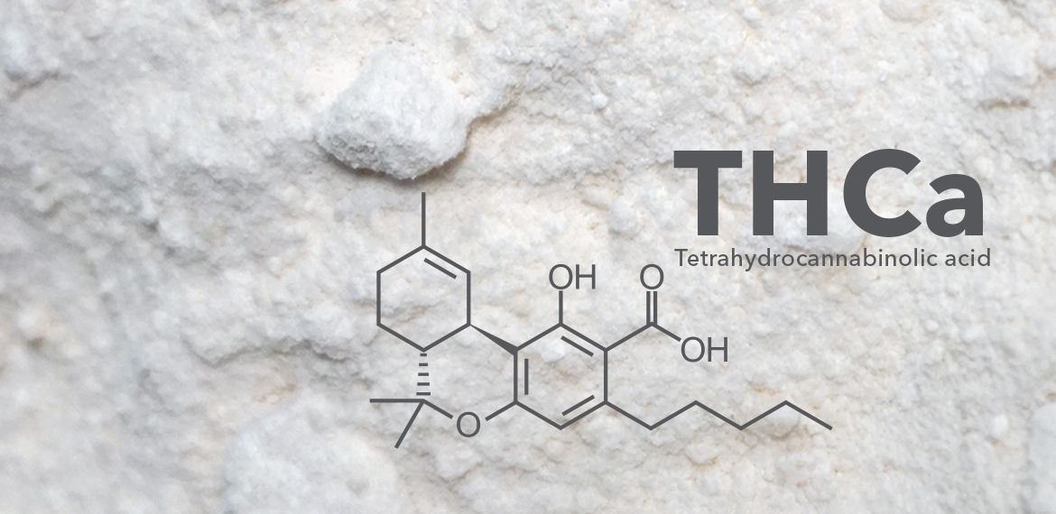 Picture of THCa crystals or powder with the molecular structure of THCa overlaid on the image.